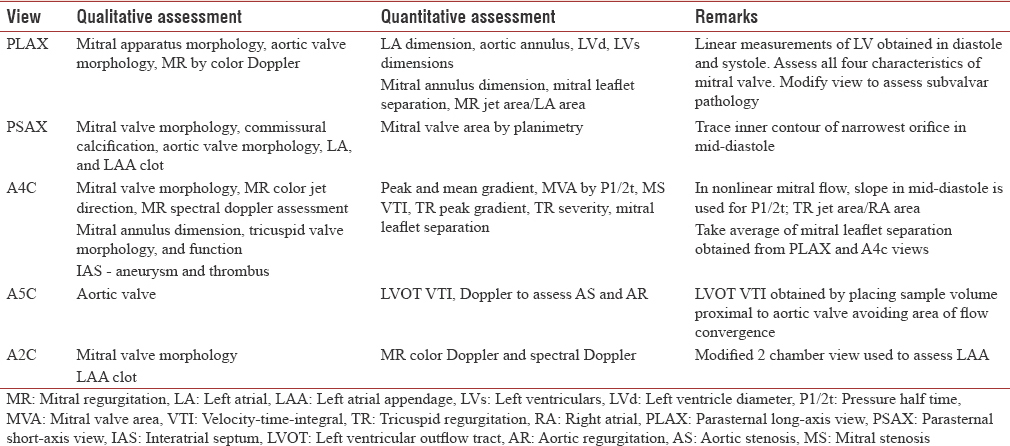 Table 7: Summary of views and assessment of mitral stenosis